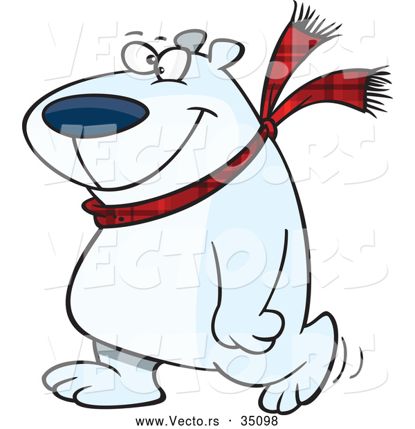 Vector of a Happy Cartoon Polar Bear Wearing a Scarf While Walking Around