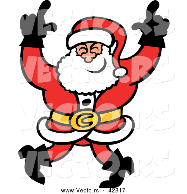 Vector of a Happy Cartoon Santa Dancing with a Big Smile
