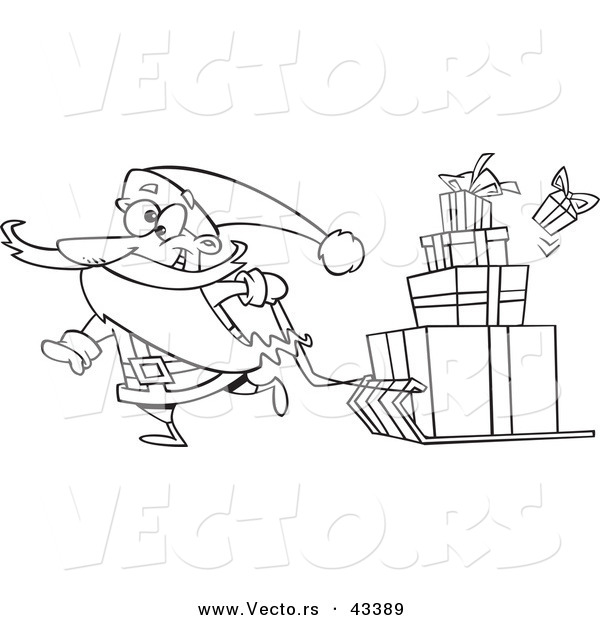 Vector of a Happy Cartoon Santa Pulling Christmas Presents on a Sled - Coloring Page Outline