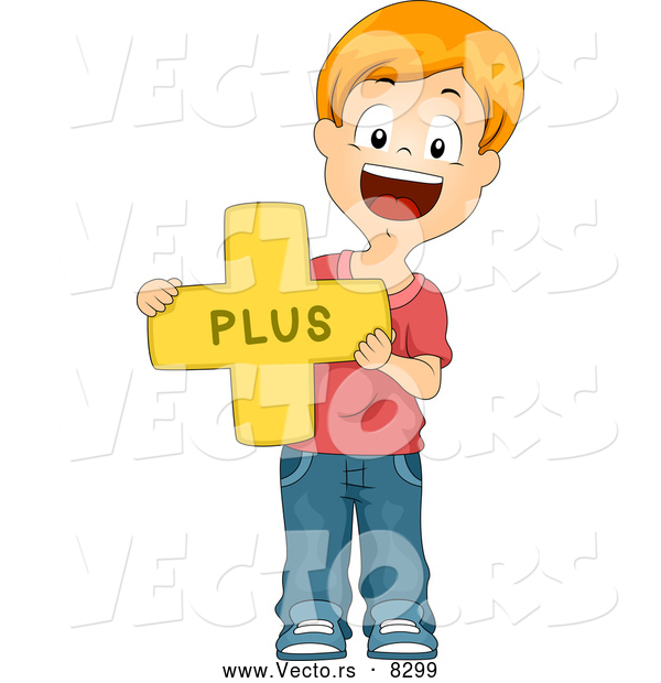 Vector of a Happy Cartoon School Boy Holding a Plus Math Symbol