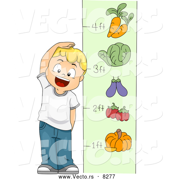 Vector of a Happy Cartoon School Boy Measuring His Height with Vegetables