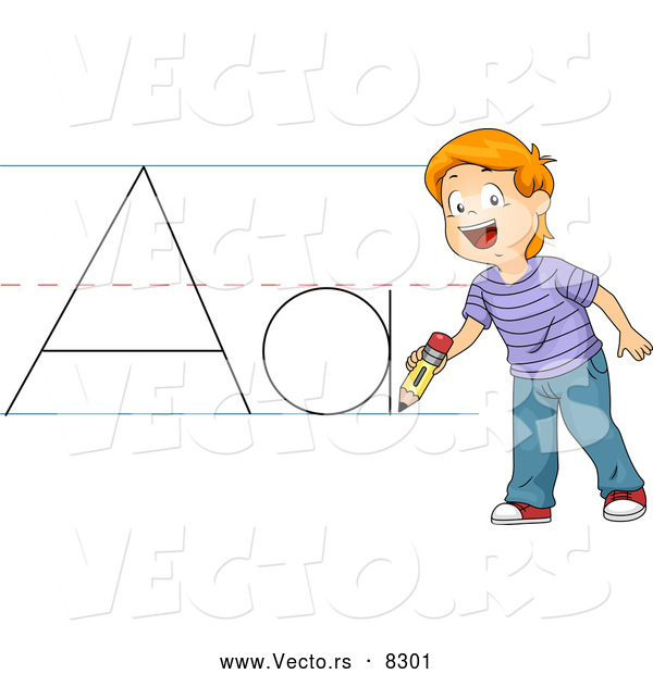 Vector of a Happy Cartoon School Boy Practicing the Letter 'Aa'