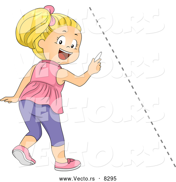 Vector of a Happy Cartoon School Girl Drawing a Diagonal Dotted Line