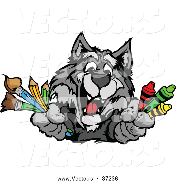 Vector of a Happy Cartoon School Gray Wolf Mascot Holding Art Supplies