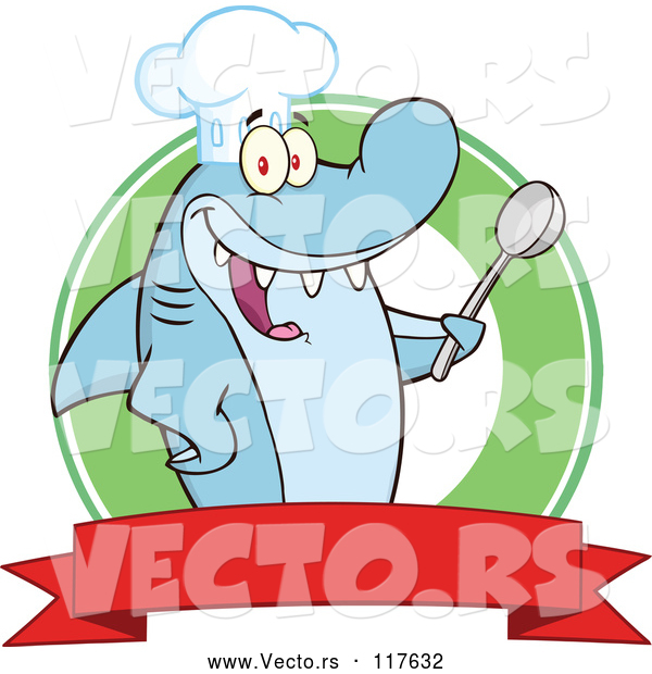 Vector of a Happy Cartoon Shark Chef Character Holding a Spoon over a Banner