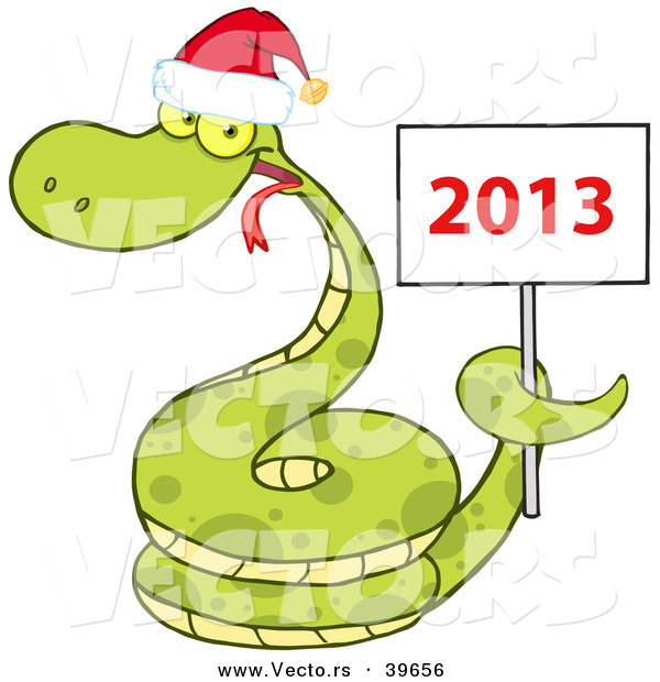 Vector of a Happy Cartoon Snake Wearing a Santa Hat While Coiled Around a 2013 Happy New Sign