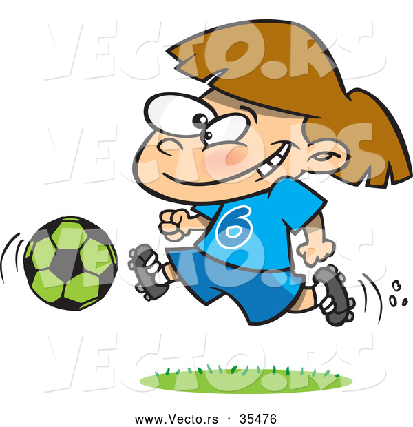 Vector of a Happy Cartoon Soccer Girl Running with the Ball