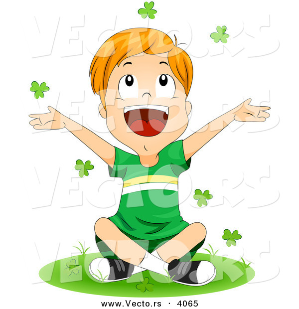 Vector of a Happy Cartoon St. Patrick's Day Boy Tossing Clovers into the Air