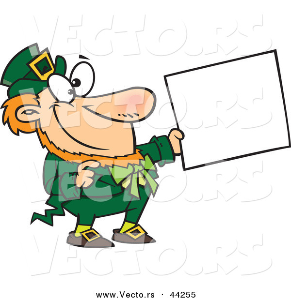 Vector of a Happy Cartoon St. Patricks Day Leprechaun Holding out a Sign