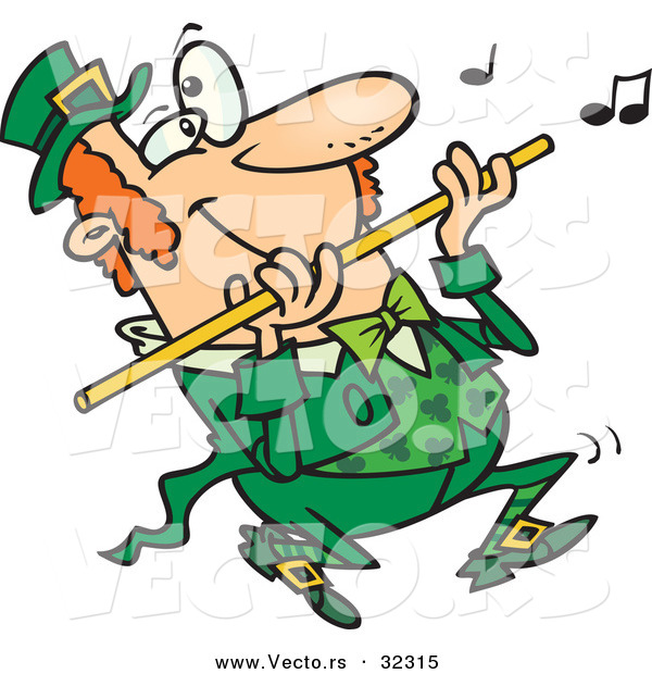 Vector of a Happy Cartoon St. Patrick's Day Leprechaun Playing Flute Music