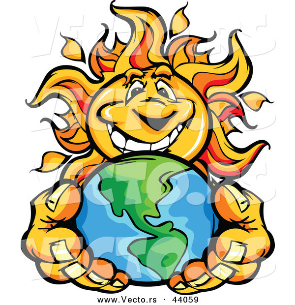Vector of a Happy Cartoon Sun Mascot Holding Earth in His Hands