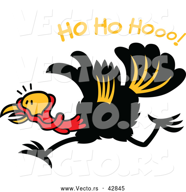 "Vector of a Happy Cartoon Turkey Running Under ""Ho Ho Hooo!"" Text"