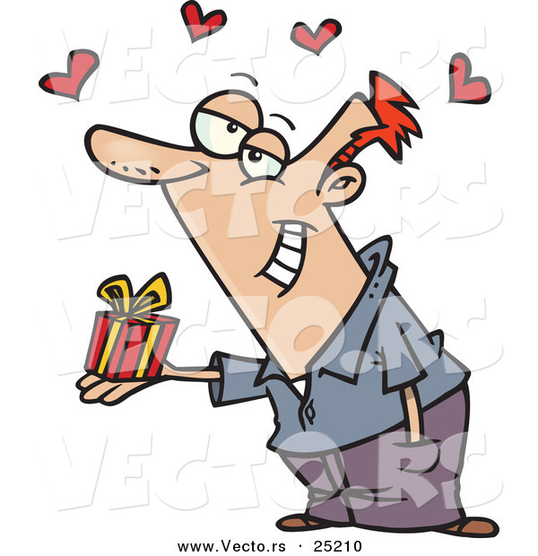 : Vector of a Happy Cartoon White Man Giving a Valentine's Day Present