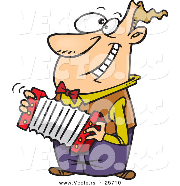 Vector of a Happy Cartoon White Man Playing an Accordion