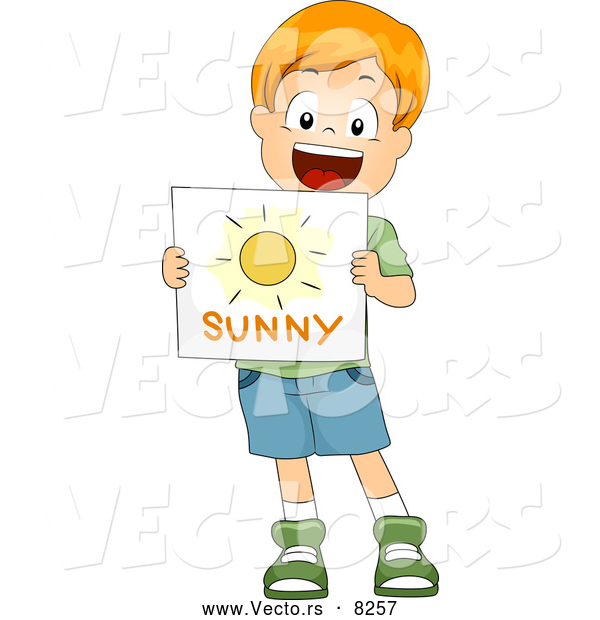 Vector of a Happy Cartoon White School Boy Holding a 'Sunny' Weather Flash Card