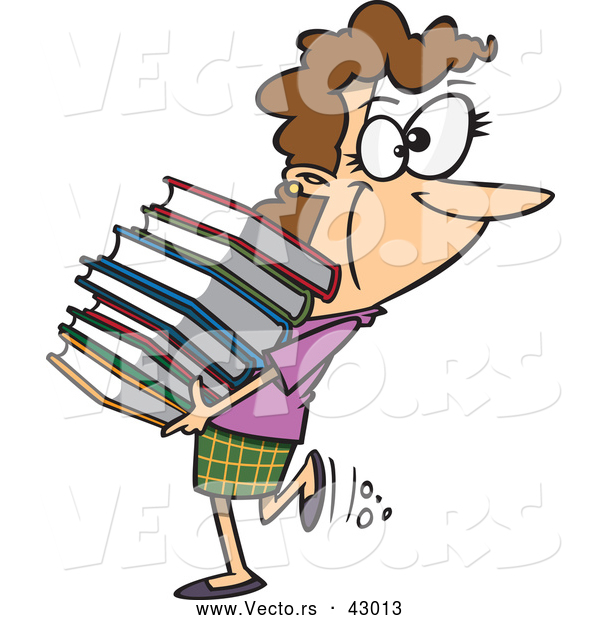 Vector of a Happy Cartoon Woman Carrying Stack of Library Books
