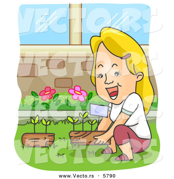 Vector of a Happy Cartoon Woman Gardening at Her Home