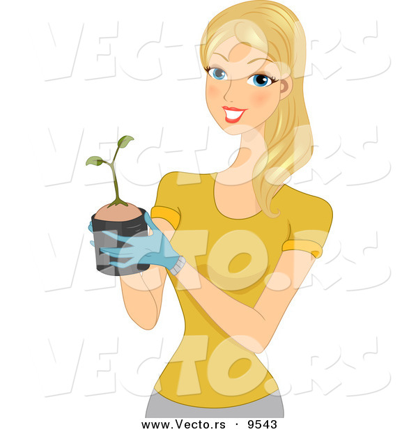 Vector of a Happy Cartoon Woman Holding a Small Plant Sprouting from a Pot