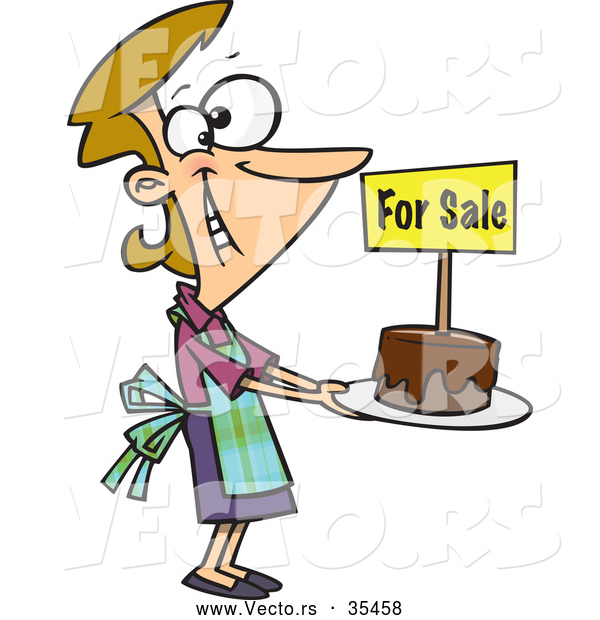 Vector of a Happy Cartoon Woman Selling Chocolate Cakes at a Bake Sale