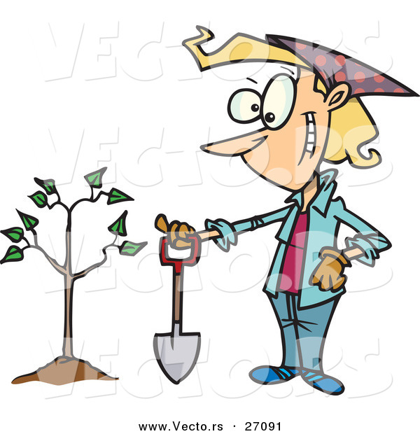 Vector of a Happy Cartoon Woman Standing Beside Her New Tree with a Shovel