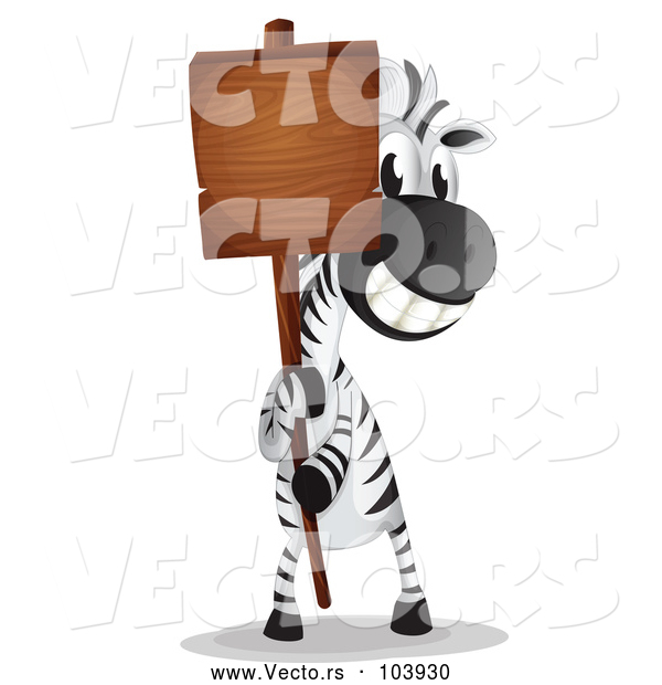 : Vector of a Happy Cartoon Zebra Holding a Blank Sign