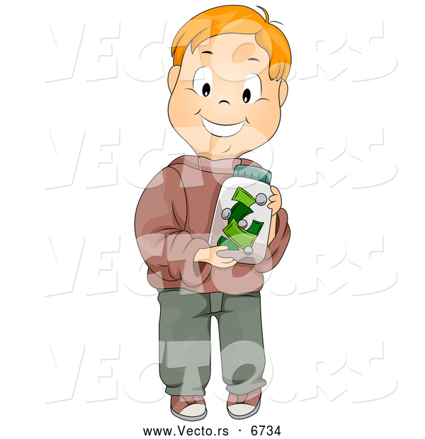 Vector of a Happy Caucasian Boy Holding a Money Jar