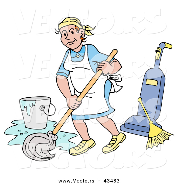 Vector of a Happy Caucasian Housewife, Maid, House Keeper, Custodian or Janitor Woman Mopping a Floor near a Broom and Vacuum