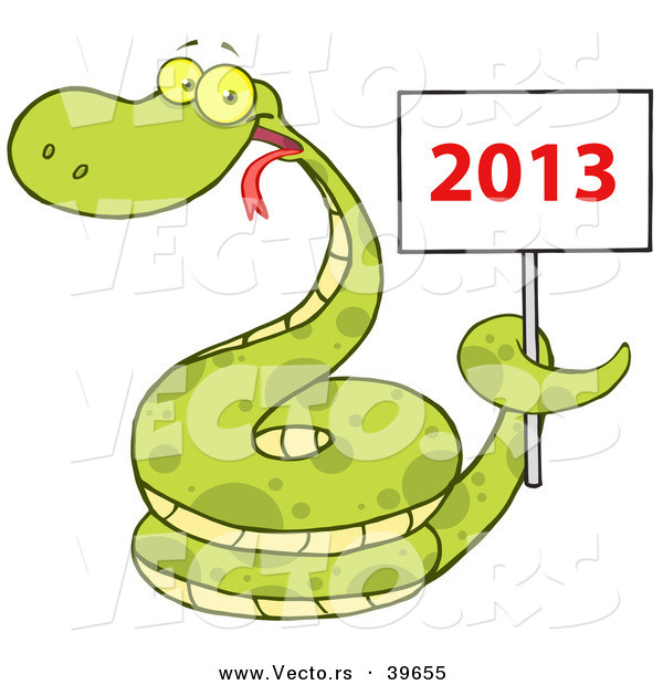 Vector of a Happy Coiled Cartoon Snake Holding a Year 2013 Sign