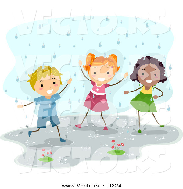 Vector of a Happy Diverse Kids Playing in the Rain