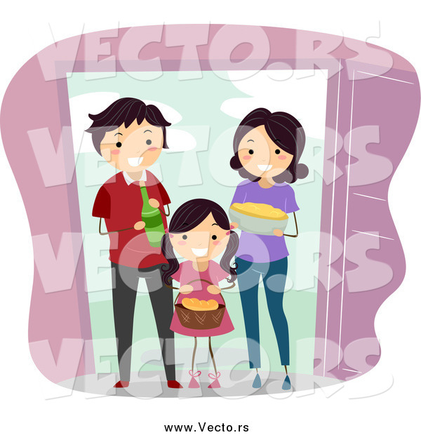 Vector of a Happy Family Giving Food and Beverage to Welcome New Neighbors