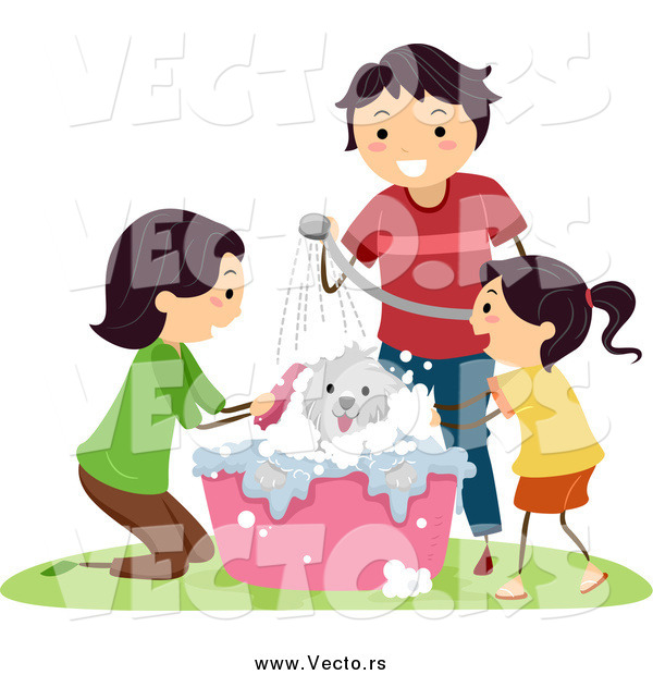 Vector of a Happy Family Giving Their Dog a Bath