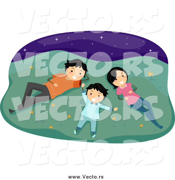 Vector of a Happy Family Laying in Grass and Gazing at Stars at Night