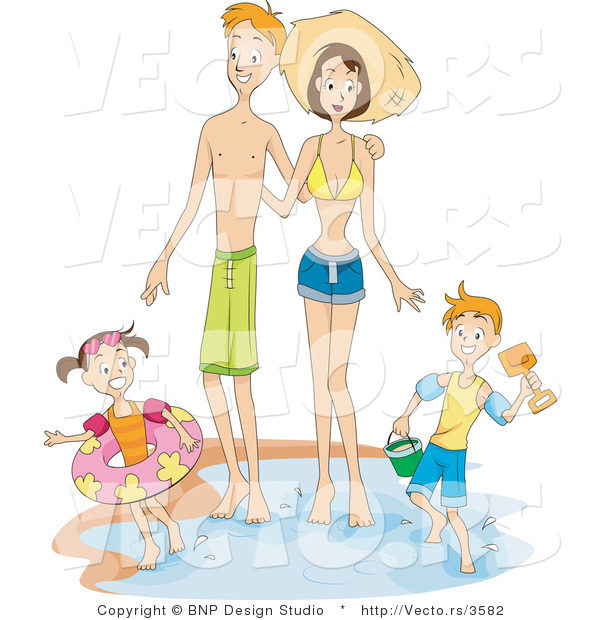 Vector of a Happy Family Playing near the Ocean Water Edge on a Beach