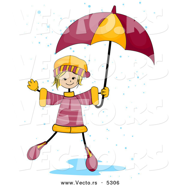 Vector of a Happy Girl Playing in a Rain Puddle While Holding an Umbrella