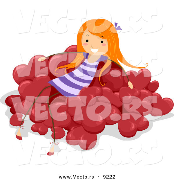 Vector of a Happy Girl Sitting on a Pile of Red Love Hearts