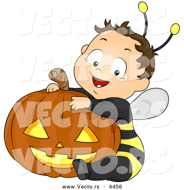 Vector of a Happy Halloween Cartoon Boy Wearing Bee Costume While Sitting Besid a Carved Pumpkin