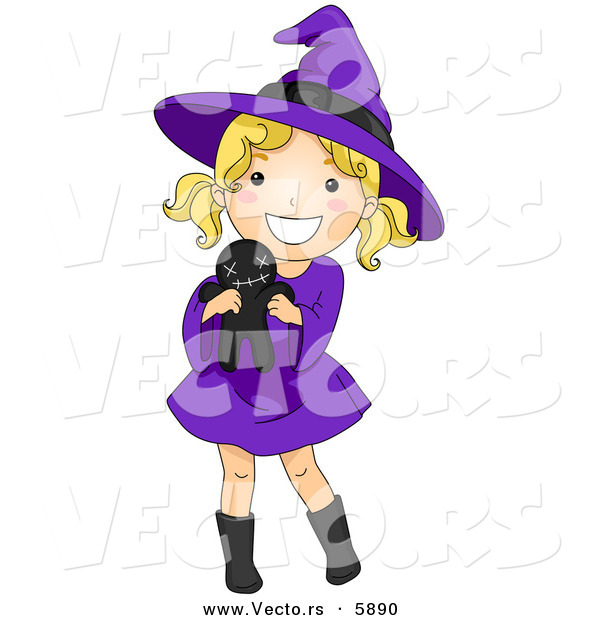 Vector of a Happy Halloween Cartoon Witch Girl Holding a Voodoo Doll