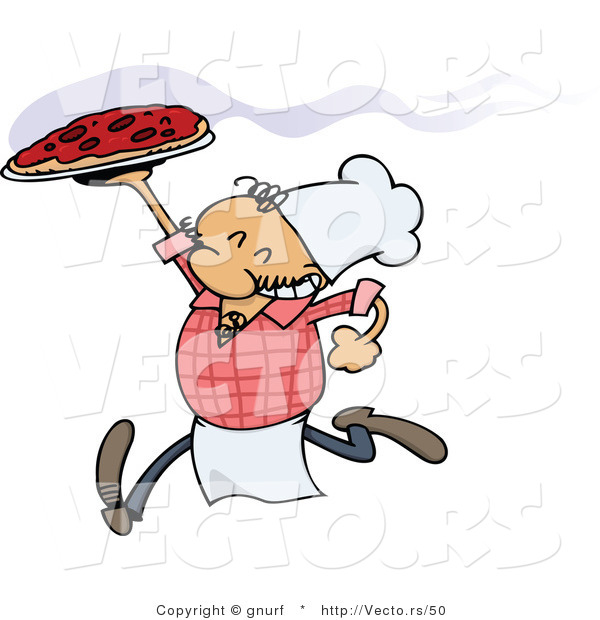 Vector of a Happy Italian Caroon Chef Running with a Fresh Hot Pizza Pie