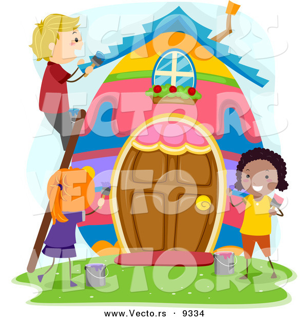 Vector of a Happy Kids Painting a Big Easter Egg House