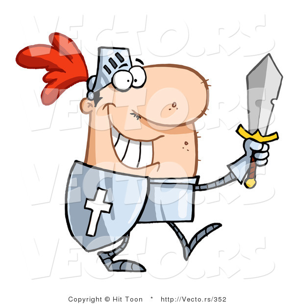 Vector of a Happy Knight Carrying Sword and Shield While Walking in Armor