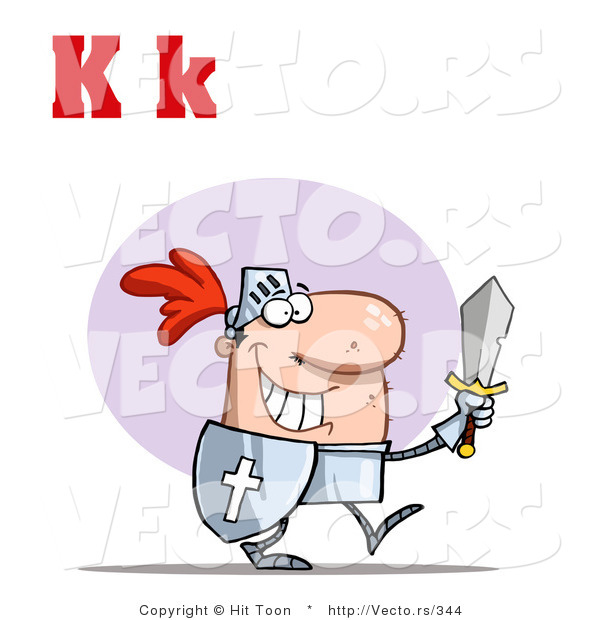 Vector of a Happy Knight with Upper and Lowercase Letter K
