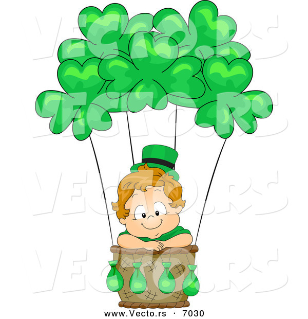 Vector of a Happy Leprechaun Toddler Boy Traveling in a Hot Air Balloon with Clovers