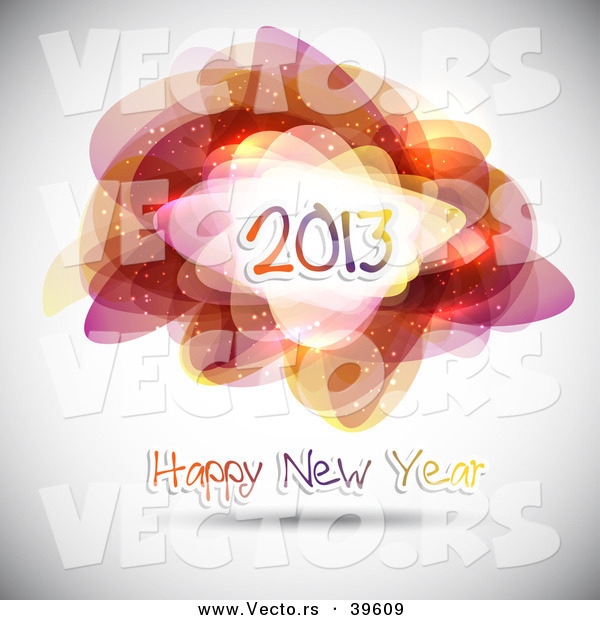 Vector of a Happy New Year 2013 Greeting Background with Abstract Shapes and Patterns