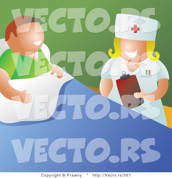 Vector of a Happy Nurse Talking with Patient in a Hospital Room