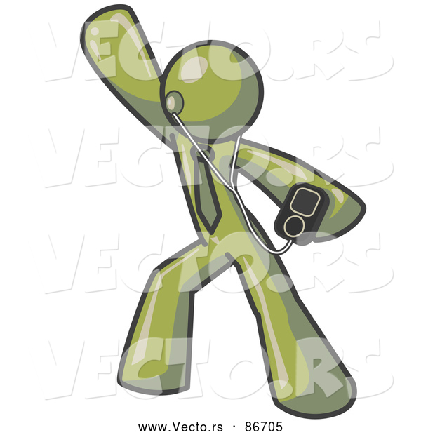 Vector of a Happy Olive Green Person Dancing and Listening to Music with an MP3 Player