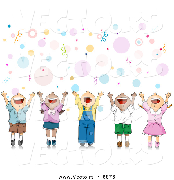 Vector of a Happy Party Kids Celebrating with Their Hands up over Bubbles and Confetti