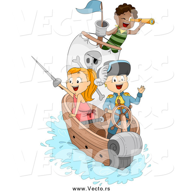 Vector of a Happy Pirate Children on a Ship