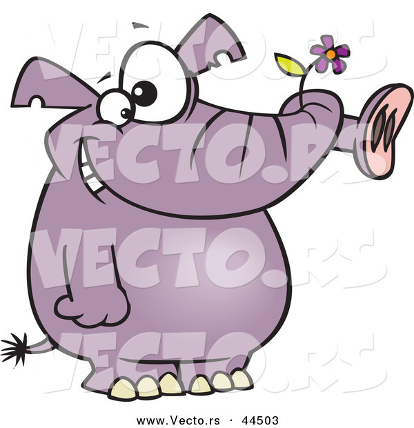 Vector of a Happy Purple Elephant with a Flower in His Trunk