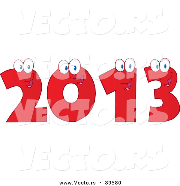 Vector of a Happy Red 2013 Cartoon Digits