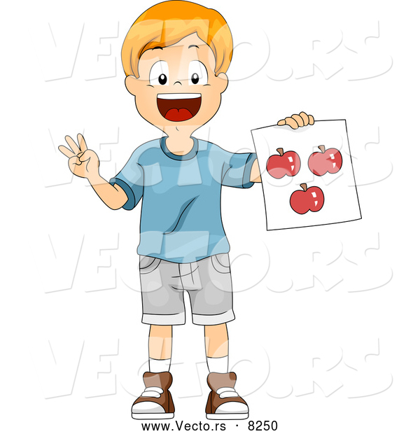 Vector of a Happy School School Boy Holding a Red Apple Flash Card